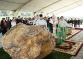 Святейший Патриарх Кирилл освятил закладной камень в основание храма прп. Сергия Радонежского на Федеральном военном мемориальном кладбище