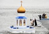 Святейший Патриарх Кирилл освятил плавучую часовню-маяк на месте слияния рек Иртыша и Оби