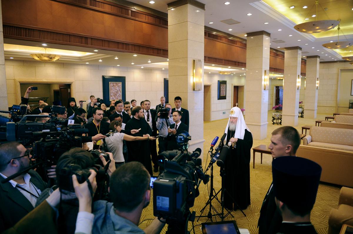 Патриарший визит в Китай. Беседа с журналистами по итогам встречи с Председателем КНР
