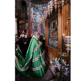 Святейший Патриарх Кирилл поклонился Иверской иконе Божией Матери Портаитисса (Вратарница) в монастыре Ивирон
