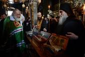 Предстоятель Русской Церкви совершил молебен в монастыре Пантократор