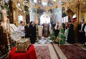 Святейший Патриарх Кирилл поклонился святыням Русского на Афоне Свято-Пантелеимонова монастыря