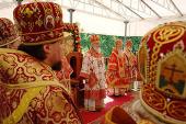В праздник Собора новомучеников, в Бутове пострадавших, Предстоятель Русской Церкви совершил Литургию на Бутовском полигоне