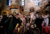 В канун недели Торжества Православия Святейший Патриарх Кирилл совершил всенощное бдение в Сретенском монастыре