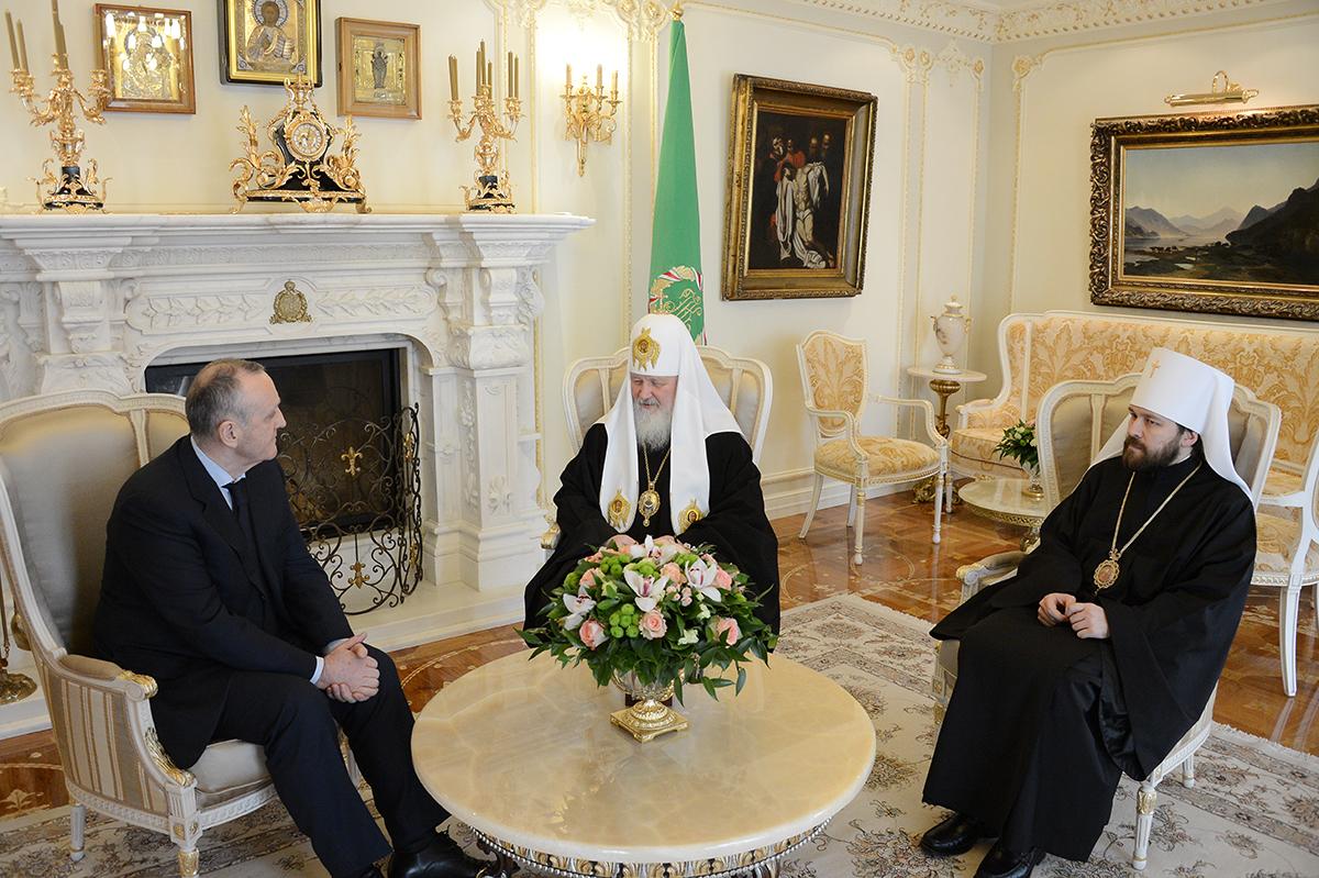 Встреча Святейшего Патриарха Кирилла с Президентом Абхазии Александром Анквабом