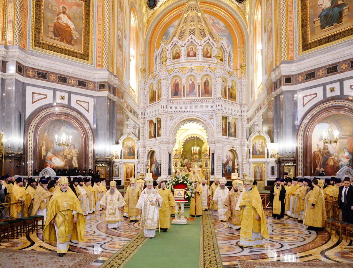 Божественная литургия в Храме Христа Спасителя в день рождения Предстоятеля Русской Церкви