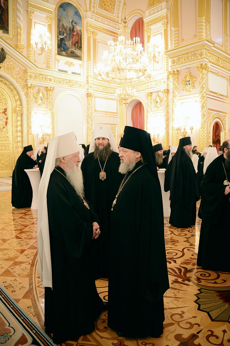 Встреча Президента России В.В. Путина со Святейшим Патриархом Кириллом и участниками Архиерейского Собора Русской Православной Церкви