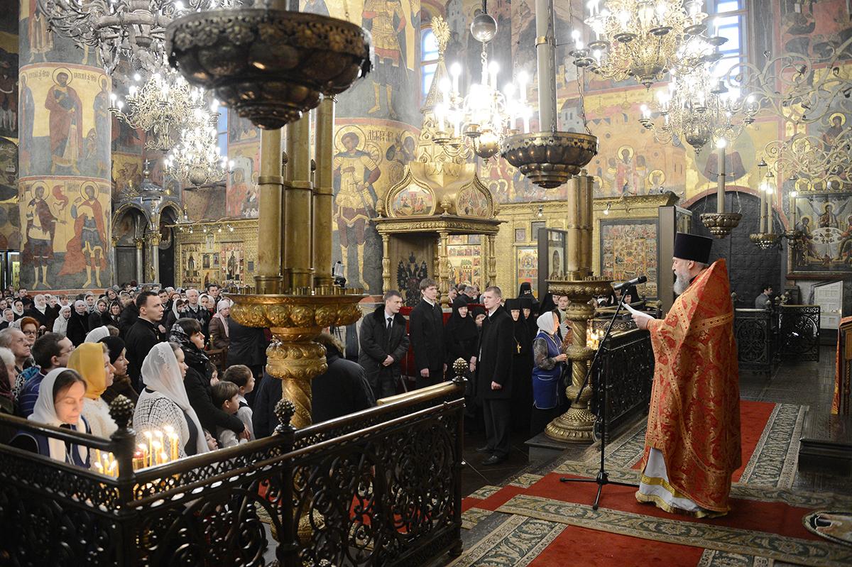 Патриаршее служение в день Собора новомучеников и исповедников Российских в Успенском соборе Московского Кремля
