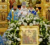 В канун праздника Введения во храм Пресвятой Богородицы Предстоятель Русской Церкви совершил всенощное бдение в Храме Христа Спасителя
