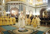 В неделю 35-ю по Пятидесятнице Предстоятель Русской Церкви совершил Литургию в Храме Христа Спасителя