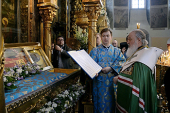 Святейший Патриарх Кирилл совершил молебен у мощей святителя Тихона, Патриарха Всероссийского, в Донском монастыре
