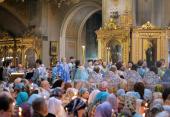 Предстоятель Русской Церкви совершил утреню с чтением Акафиста Пресвятой Богородице в Богоявленском кафедральном соборе г. Москвы