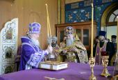 Святейший Патриарх Кирилл совершил Божественную литургию в храме Архангела Михаила в Крымске