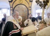 В Великий понедельник Предстоятель Русской Церкви совершил молебен на начало чина мироварения