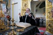 В канун Великой среды Святейший Патриарх Кирилл принял участие в вечернем богослужении в Крестовоздвиженском Иерусалимском монастыре