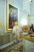 Божественная литургия в храме Всех святых, в земле Российской просиявших, Патриаршей резиденции в Даниловом монастыре в день рождения Предстоятеля Русской Церкви
