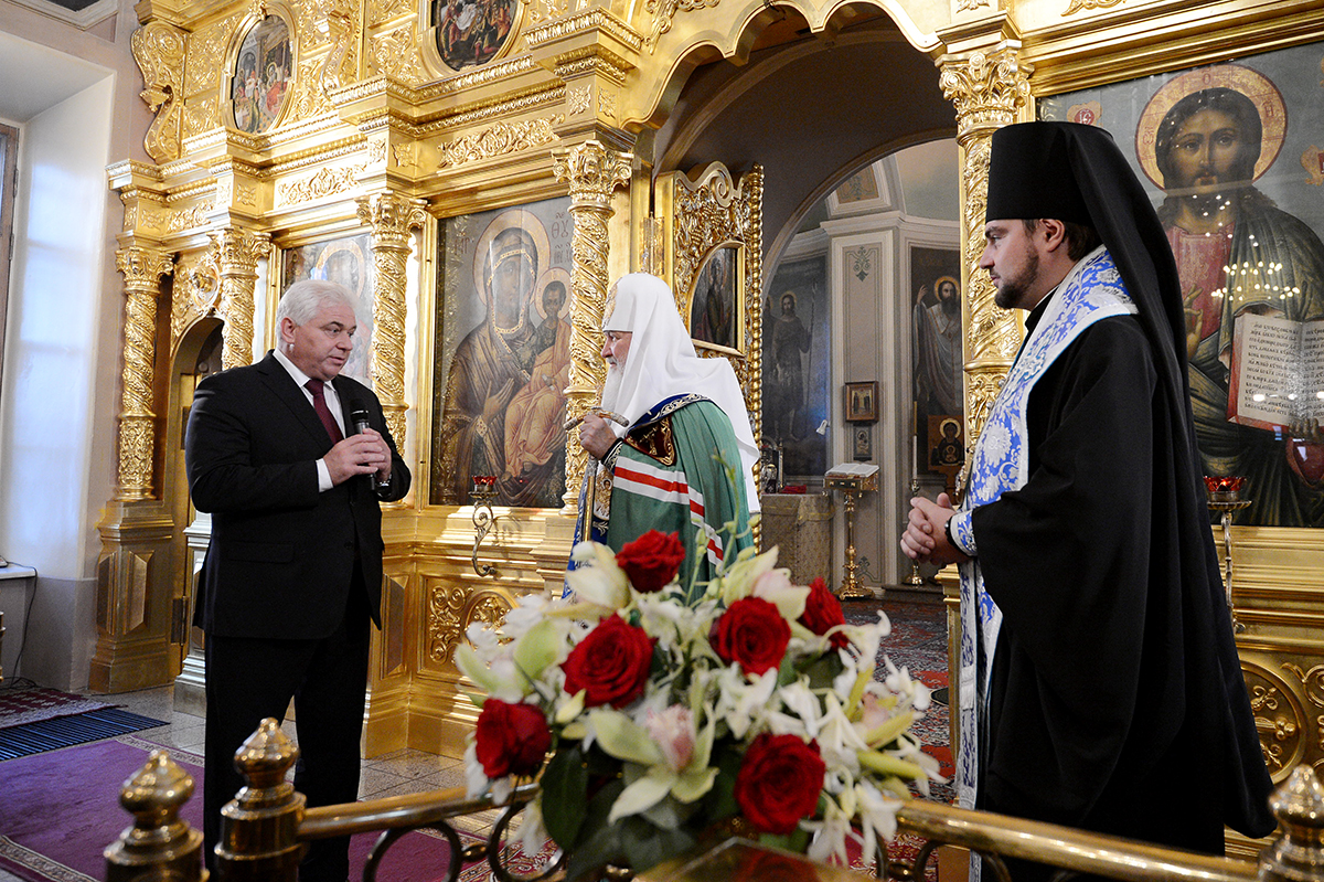 Освящение точного списка Владимирской иконы Божией Матери для храма в Вышгороде близ Киева