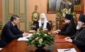 Святейший Патриарх Кирилл встретился с губернатором Ленинградской области А.Ю. Дрозденко