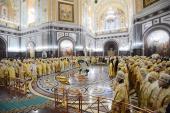 В четвертую годовщину интронизации Святейшего Патриарха Кирилла в кафедральном соборном Храме Христа Спасителя совершена Божественная литургия