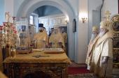 В неделю мясопустную, о Страшном Суде, Предстоятель Русской Церкви совершил Литургию в храме Успения Пресвятой Богородицы в Косино