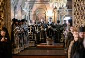 В среду первой седмицы Великого поста Предстоятель Русской Церкви совершил Литургию Преждеосвященных Даров в Троице-Сергиевой лавре