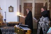 В четверг первой седмицы Великого поста Святейший Патриарх Кирилл молился за уставным богослужением в Борисоглебском Аносином женском монастыре в Подмосковье