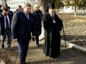 Епископ Георгиевский Гедеон принял участие во встрече министра регионального развития России с жителями станицы Галюгаевской на востоке Ставрополья