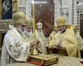 Предстоятели Антиохийской и Русской Православных Церквей совершили Литургию в Храме Христа Спасителя в Москве