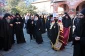 В праздник Сретения Господня митрополит Волоколамский Иларион совершил Божественную литургию в афонском монастыре Ватопед