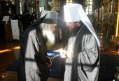Митрополит Волоколамский Иларион совершил Божественную литургию в Свято-Пантелеимоновом монастыре на Афоне