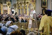 В праздник Иверской иконы Божией Матери и день памяти святителя Алексия Московского Предстоятель Русской Церкви совершил Литургию в Богоявленском соборе г. Москвы
