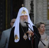 Слово Святейшего Патриарха Кирилла со ступеней Никольского Морского собора в Кронштадте