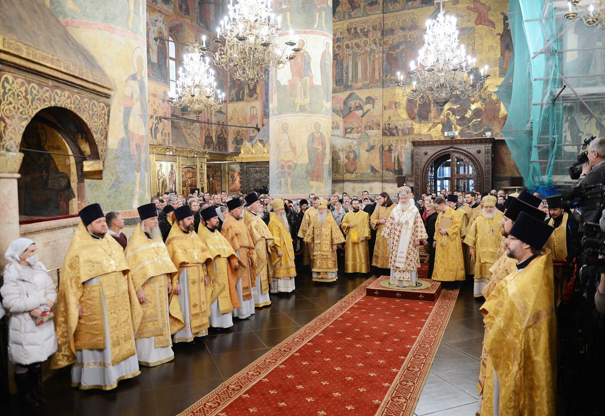 Патриаршее служение в Прощеное воскресенье в Успенском соборе Московского Кремля