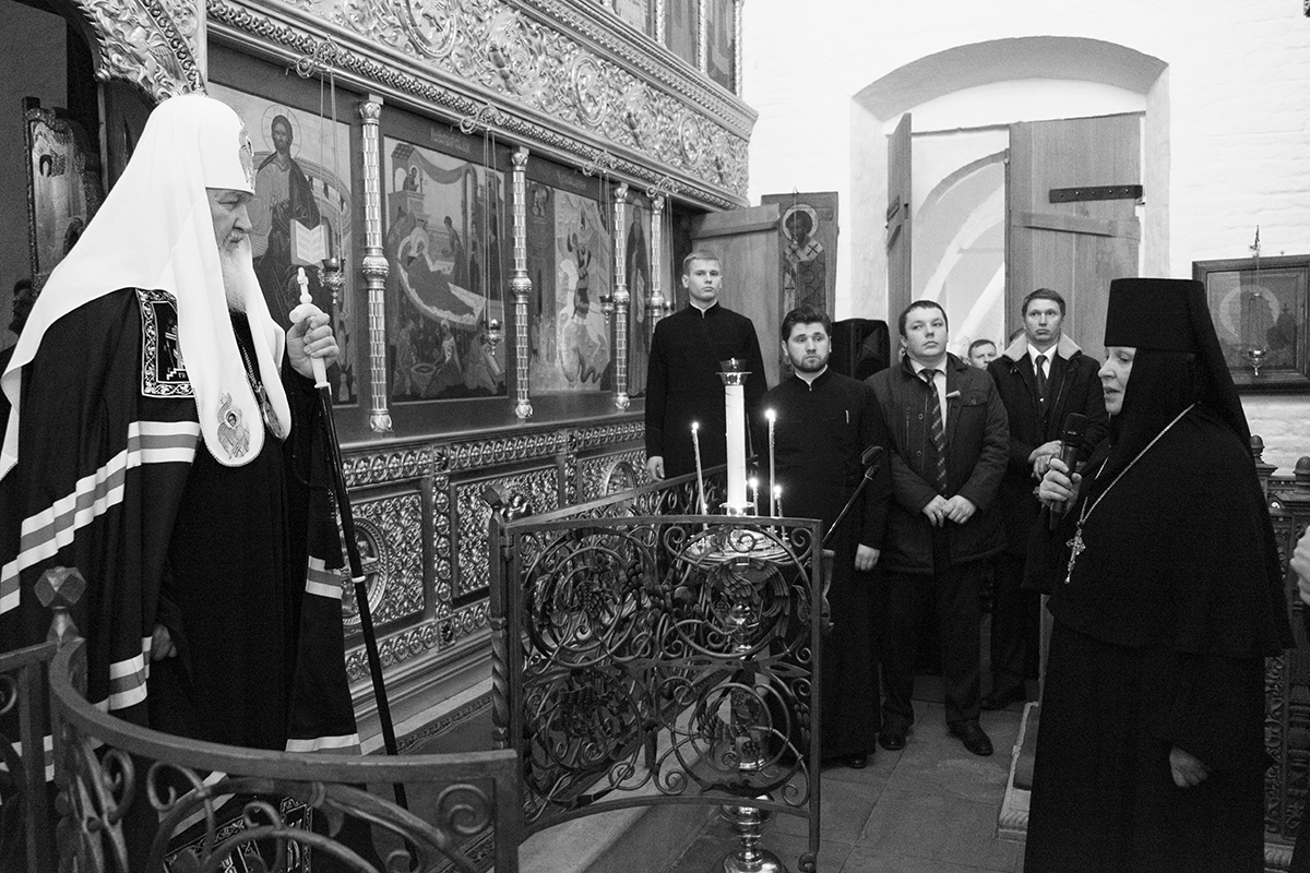 Патриаршее служение в понедельник первой седмицы Великого поста в Богородице-Рождественском монастыре
