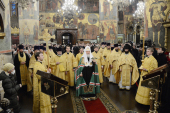 В день памяти святителя Московского Петра Святейший Патриарх Кирилл возглавил Литургию в Успенском соборе Кремля