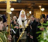 В день 65-летия преставления преподобного Серафима Вырицкого Предстоятель Русской Церкви совершил молебен в Казанском храме в Вырице