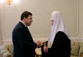 Святейший Патриарх Кирилл встретился с губернатором Свердловской области Е.В. Куйвашевым
