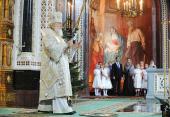 В праздник Рождества Христова Предстоятель Русской Церкви совершил Божественную литургию св. Василия Великого в Храме Христа Спасителя