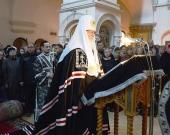 В канун Великого вторника Святейший Патриарх Кирилл принял участие в вечернем богослужении в Зачатьевском ставропигиальном монастыре