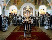 Во вторник Страстной седмицы Предстоятель Русской Церкви совершил Литургию Преждеосвященных Даров в Высоко-Петровском ставропигиальном монастыре
