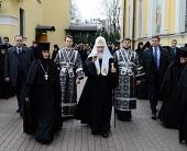 В канун Великой среды Святейший Патриарх Кирилл принял участие в вечернем богослужении в Покровском ставропигиальном монастыре