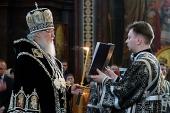 Святейший Патриарх Кирилл совершил утреню Великой субботы с чином погребения