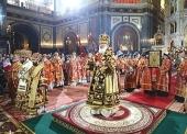 В день праздника Светлого Христова Воскресения Предстоятель Русской Церкви совершил Пасхальную великую вечерню в Храме Христа Спасителя в Москве