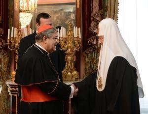 Святейший Патриарх Кирилл встретился с архиепископом Неаполитанским кардиналом Крещенцио Сепе