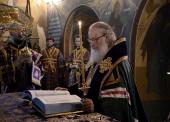 Предстоятель Русской Церкви совершил утреню Великого четверга в московском Заиконоспасском монастыре