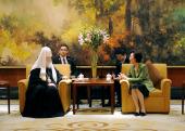 Святейший Патриарх Кирилл встретился с заместителем председателя Постоянного комитета шанхайского собрания народного представительства Чжун Яньцюнь