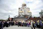 Предстоятель Русской Церкви посетил Храм-на-Крови в Екатеринбурге