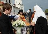 Святейший Патриарх Кирилл посетил гимназию имени преподобного Сергия Радонежского при Варницком монастыре