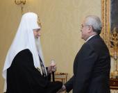 Состоялась встреча Святейшего Патриарха Кирилла с Президентом Ливана Мишелем Слейманом