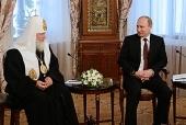 Поздравление Святейшему Патриарху Кириллу с днем тезоименитства Президента Российской Федерации В.В. Путина